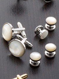 MOTHER OF PEARL Silver Trim Stud Set
