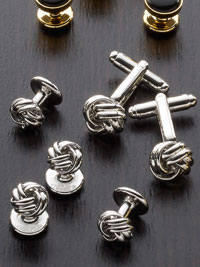 Rhodium Finish, Silver Knot