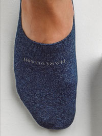 BLUE Solid NO SHOW Socks by Marcoliani