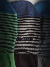 BLACK Striped NO SHOW Socks by Marcoliani