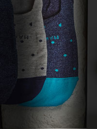 BLUE Polka-Dot NO SHOW Socks by Marcoliani