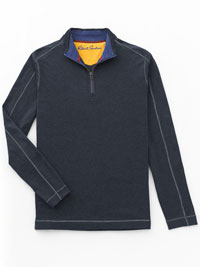 BLUE 1/4 Zip Mock Sweater  by Robert Graham