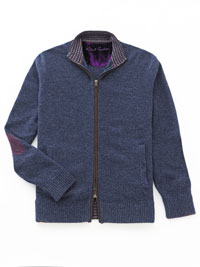 BLUE Full Zip Cardigan Sweater  by Robert Graham