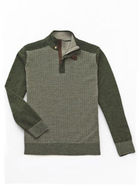 OLIVE 1/4 Zip Mock Sweater  by Tom James