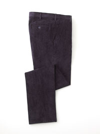 NAVY MICROFIBER CORD TROUSERS BY TOM JAMES