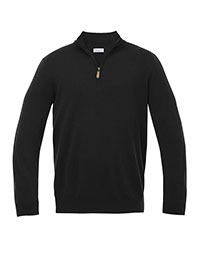 BLACK ZIP MOCK CASHMERE SWEATER BY TOM JAMES