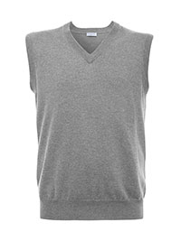 GRAY SLEEVELESS V NECK CASHMERE SWEATER BY TOM JAMES