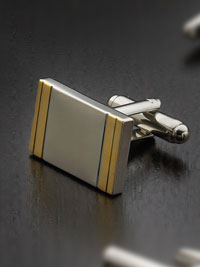 Silver plated two toned framed rectangle with swivel backing Cufflinks