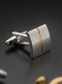 Silver plated two toned square with swivel backing Cufflinks
