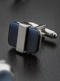 Silver plated blue catseye with swivel backing Cufflinks