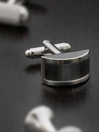 GRAY Silver plated grey catseye wtih swivel backing Cufflinks