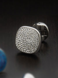 Stainless steel white pave crystal with swivel backing Cufflinks