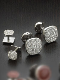 Stainless steel white pave crystal with swivel backing Studset