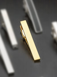 Gold plated stripe Tie Bar