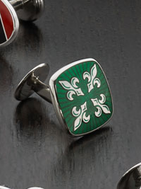 GREEN Sterling silver fleur de lis vitreous enamel with button backing Cufflinks