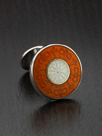 ORANGE Sterling silver vitreous enamel with button backing Cufflinks