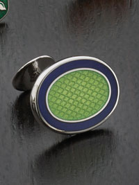 NAVY Sterling silver vitreous enamel with button backing Cufflinks