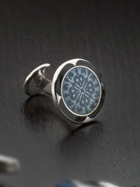 BLUE Sterling silver vitreous enamel with button backing Cufflinks