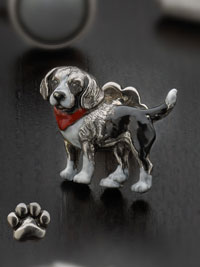 BLACK Sterling silver hand painted beagle with paw print button backing Cufflinks