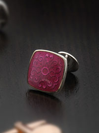 RED Sterling silver vitreous enamel with button  Cufflinks