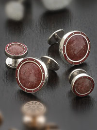 Sterling silver raspberry agate with button backing Studset