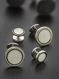 BLACK Sterling silver vitreous enamel with button backing Studset