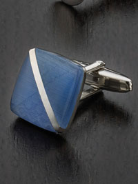 SKY Anti-tarnish rhodium finish diagonal fibre optic with Cufflinks