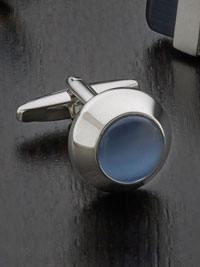 SKY Anti-tarnish rhodium finish beacon fibre optic with swivel backing Cufflinks