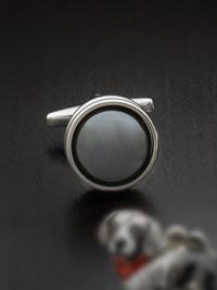 GRAY Anti-tarnish rhodium finish hematite headlight with swivel backing Cufflinks