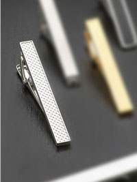 SILVER Rhodium finish fish net Tie Bar