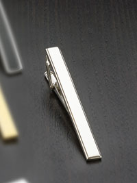 SILVER Rhodium finish ribbed trim Tie Bar