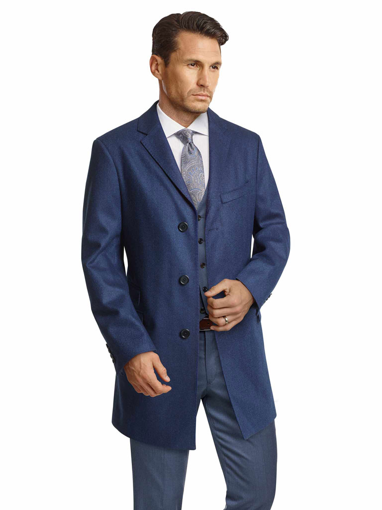 NAVY Car Coat with Loro Piana Storm System by Tom James