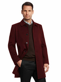 BURGUNDY Tom James Coat with Loro Piana Storm System