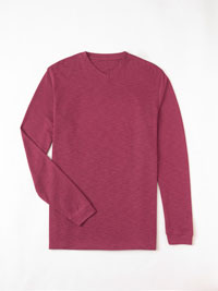 CRANBERRY LONG SLEEVED V-NECK T-SHIRT BY TOM JAMES