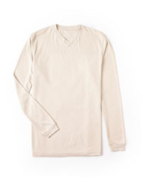ALMOND Long Sleeved V-Neck T-Shirt by Tom James