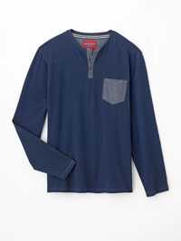 LS Slub Henley with Denim