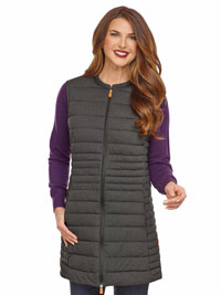 CHARCOAL Ladies Long Vest by Save the Duck