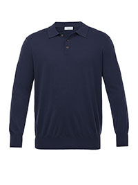 NAVY Three Button Dress Polo by Tom James