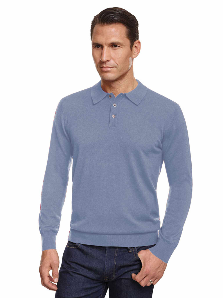 BLUE Three Button Dress Polo by Tom James
