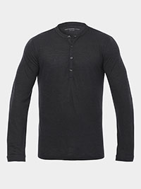 CHARCOAL Long Sleeve 4 Button Henley by John Varvatos
