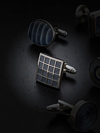 PURPLE ENAMEL CHECKER SQUARE CUFFLINKS