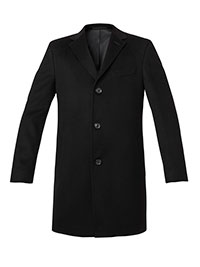 BLACK WOOL/CASH BLEND TOPCOAT