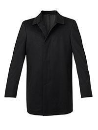 BLACK WOOL FLY FRONT CARCOAT