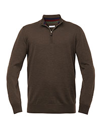 BROWN C. QUARTER ZIP WASHABLE WOOL SWEATER