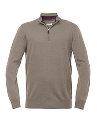 TAUPE QUARTER ZIP WASHABLE WOOL SWEATER