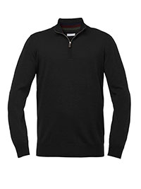 BLACK QUARTER ZIP WASHABLE WOOL SWEATER