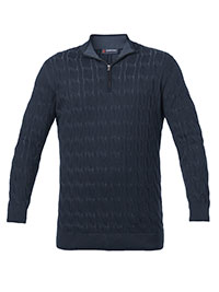 NAVY CABLE KNIT QUARTER ZIP