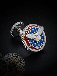 RED STARS & STRIPES RHODIUM PLATED CUFFLINKS