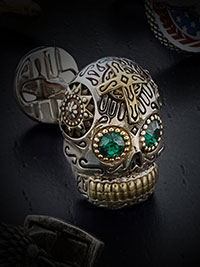 SILVER DAY OF THE DEAD SKULL CUFFLINKS