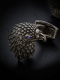 GRAY OXIDISED EAGLE WITH SWAROVSKI CRYSTAL EYE CUFFLINKS